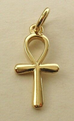 SOLID 9K 9ct Yellow GOLD 3D ANKH KEY OF LIFE Charm/Pendant