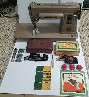 Vintage Singer 301A Long Bed Sewing Machine w/ Case & Accessories Made USA 1954