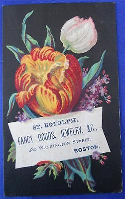 St. Botolph Fancy Goods, Jewelry, Boston Flowers Victorian Trade Card Business