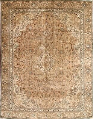 Breathtaking Antique Geometric Muted Color 9x12 Tabriz Persian Oriental Area Rug