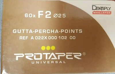 Protaper Universal F2 Gutta Percha Points Dentsply Tulsa Box of 60 Dental Endo