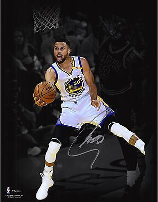 Stephen Curry GS Warriors Signed 11x14 2017 NBA Finals Champs Spotlight Photo