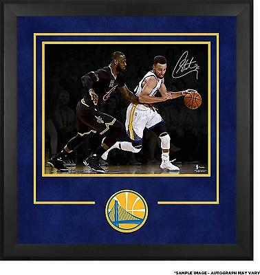 Stephen Curry GS Warriors Framed Signed 2017 NBA Champs 16x20 Action Shot Photo