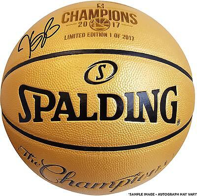Kevin Durant GS Warriors Signed 2017 NBA Finals Champs Gold Basketball