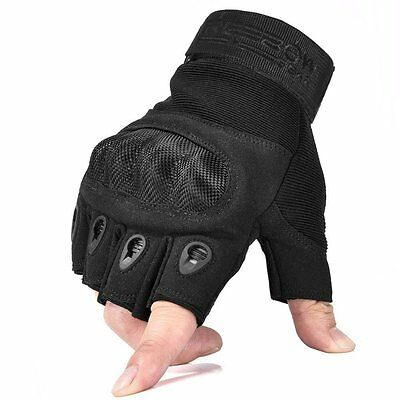 Fingerless Military Hard Knuckle Tactical Gloves Sports Gear Small Size Black