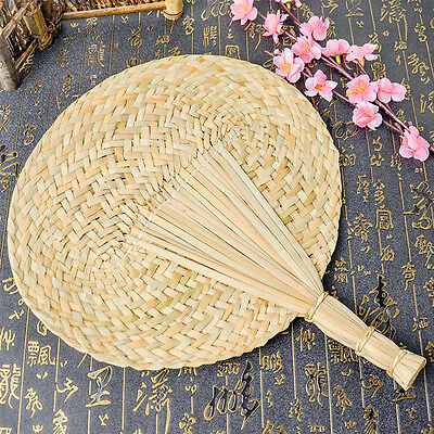 Unisex 100% Hand Woven Straw Stalk Feather Fan Rushes Chinese Summer Rushes