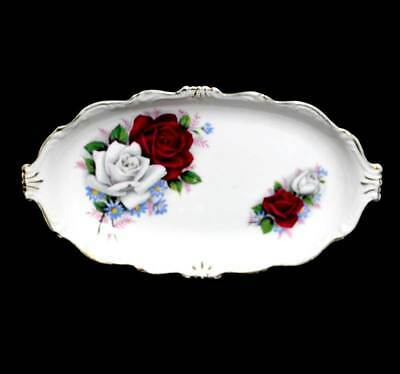 Vintage Queen Anne Duet white & red rose pretty oval cake platter