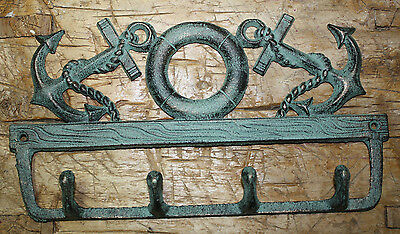 Cast Iron NAUTICAL Towel Coat Hooks Hat Hook Key Rack ANCHOR LIFE RING Beach