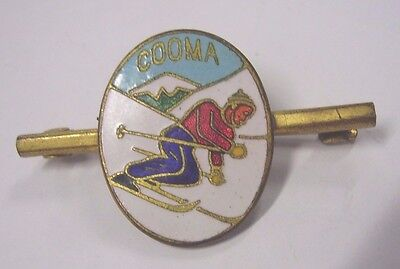 Vintage Cooma Souvenir Badge Pin Snow Skiier Skiing