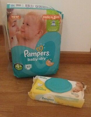 Couches pampers taille 4 + lingettes. NEUF.