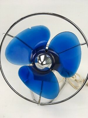 Vintage 1960s Daydream Electric Desk Fan Blue And White Melamine Australian Made