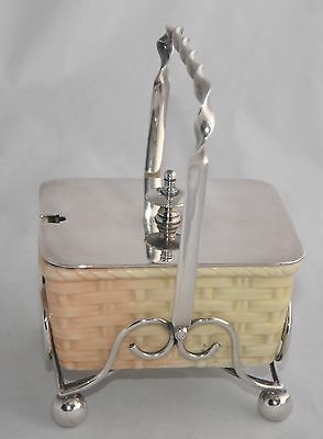 Antique LOCKE & CO Worcester Basket Preserve Pot/Sugar Bowl w Silver Plate Stand
