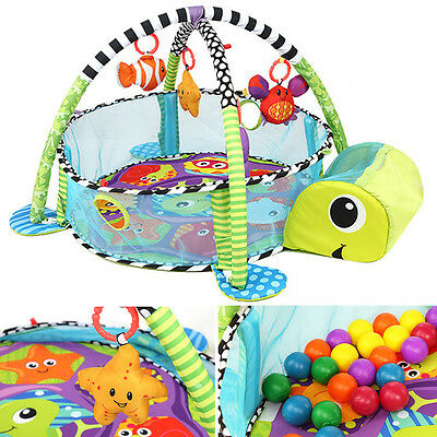 Toddler Baby Gym Mat Soft Play Activity Turtle Ocean Ball Musical Playmat Toy