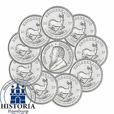 10 x South Africa 2017 Krugerrand PU 1oz Premium Uncirculated Silver Coins