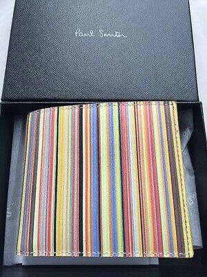 Paul Smith Men's Bifold Coin Mul Wallet 100% Leather Made In Italy With Box