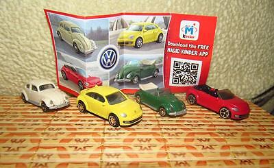 Kinder surprise egg comlete set: NEW Volkswage 4 mini cars toys + paper