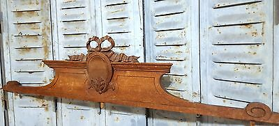 Hand Carved Wood Pediment Antique French Bow Louis Xvi Salvaged Carving Crest