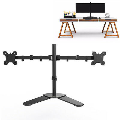 Adjustable Dual Twin Arm Desk Mount Stand For LCD LED Monitor Computer Screen TV