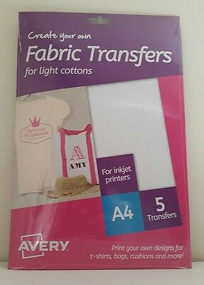 Avery Md1001 - Fabric Transfers For Light Cotton - A4 - 5 Transfers *brand New*