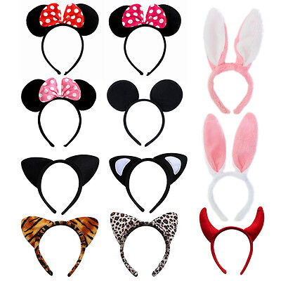 1x Minnie Mouse Animal Ears Bow Headband Womens Girls Mickey Party Fancy Dress B