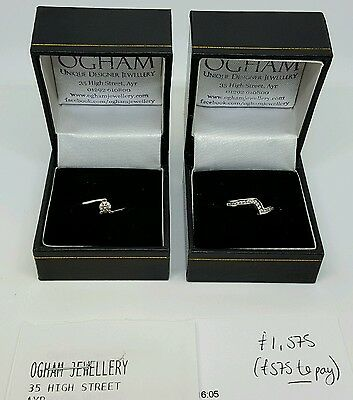 Engagement Ring and Wedding Ring set White Gold with Diamonds BEAUTIFUL set