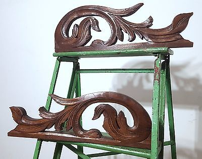 Carved Wood Pediment Matched Pair Antique French Salvaged Mount Cornice Crest