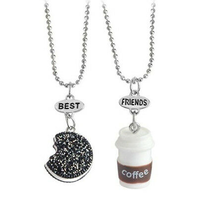 Fashion Coffee Cup and Oreo Cookies Necklace Best Friends For Kids 2pcs/set