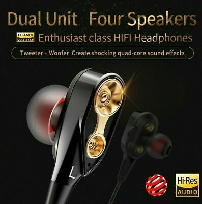 Dual Driver Earphones HIFI Earbuds Bass Headset In-ear Noise Cancelling With Mic