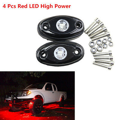 4 x Red CREE Chips 9W High Power LED Rock Light Car Pickup Under Body Tail Light