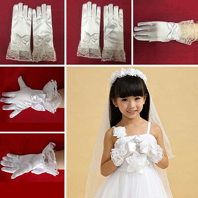Girls Gloves Flower Girl Performance Satin White Lace Bow-knot Dresses Toddlers