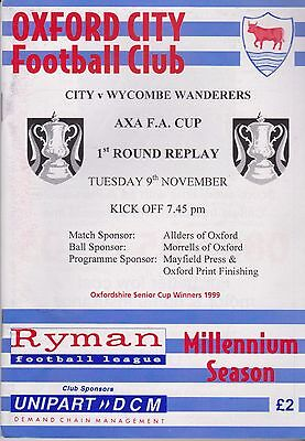 Oxford City v Wycombe Wanderers - FA Cup 1st Round Replay - 9/11/99