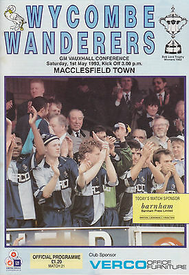 Wycombe Wanderers v Macclesfield Town - Last Ever in Conference - 1ST MAY 1993