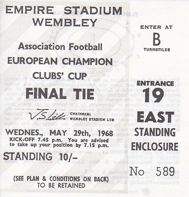 BENFICA v MANCHESTER UNITED ~ EUROPEAN CUP FINAL 1968~ REPRODUCTION TICKET.