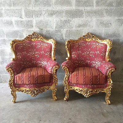 A Beautiful Set Of Two Easy-Chairs In Italian Baroque Style