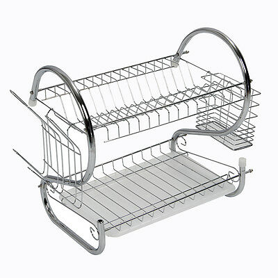 2 Tier Chrome Plate Dish Cutlery Cup Drainer Rack Drip Tray Plates Holder C2E1