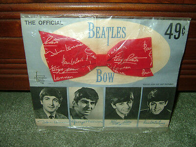 Beatles 1960's Red Hair Bow On The Original Card And In The Original Bag Unused