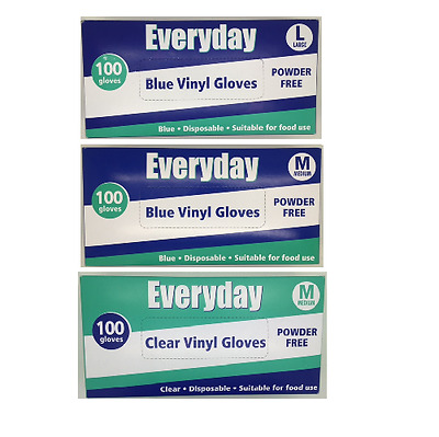 Everyday Vinyl Gloves Disposable Suitable for All Use Powder Free Clear / Blue