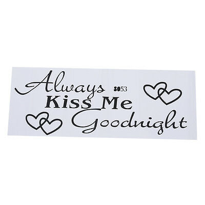 ALWAYS KISS ME GOODNIGHT Quote Black Words Room Art Mural Wall Sticker Decal