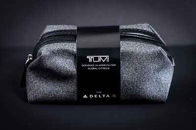 Delta Airlines Business Class Gray Soft TUMI Amenity Kit New Sealed