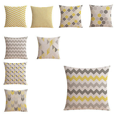 Hot Sale Wholesales Linen Pillow Cover Yellow Grey pillow Cover Geometric S X5P8