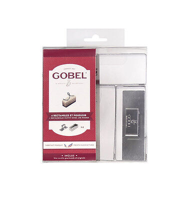 GOBEL Rectangle Rings 90x35mm  Stainless Steel with Pusher - Set of 4