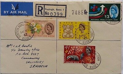 Great Britain 1963 Rayleigh Registered Airmail Cover - Rhodesia With Nice Stamps