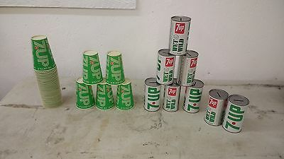 Vintage 7Up 7-up Soda Pop Tin Can Coin Bank and cups