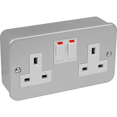 2x Metal Clad Double/Twin 2 Gang Socket Swiched 13amp x2