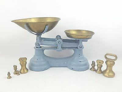 Vintage Blue Librasco Kitchen Sweets Weighing Scales / 7 Brass Bell Weights