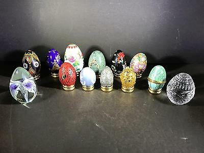 W)  Lot 13 Eggs Porcelain Glass Metal 1 Signed And Display Rings • $13.99