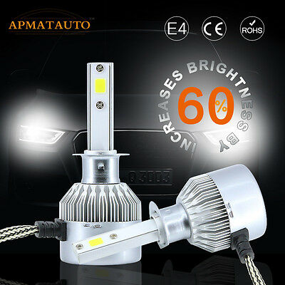 2x 200W 20000LM CREE COB  LED H1 Headlight Kit Low Beam Bulbs 6000K White 12V