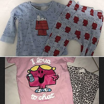 3 Items :Peter Alexander Baby Snoopy Pyjamas Long Sleeve Size 2 And Others