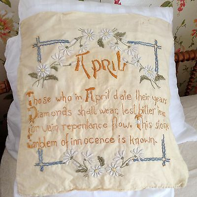 Antique Embroidered Pillow Sham April Birthday Verse Daisies Beautiful stitching