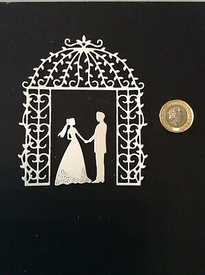 Wedding Arch And Couple Card Scrapbook Toppers X5